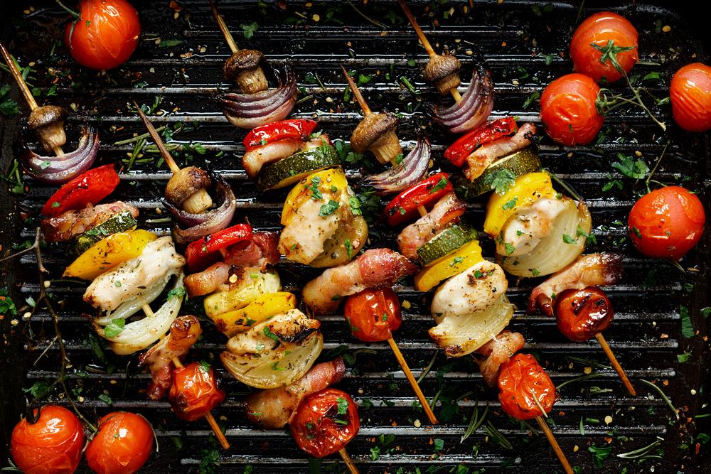 grill, nyárs, zöldség, hús